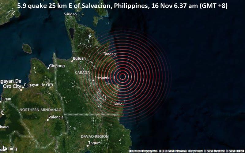 Filipinas fue sacudida  por un sismo de magnitud 5.9