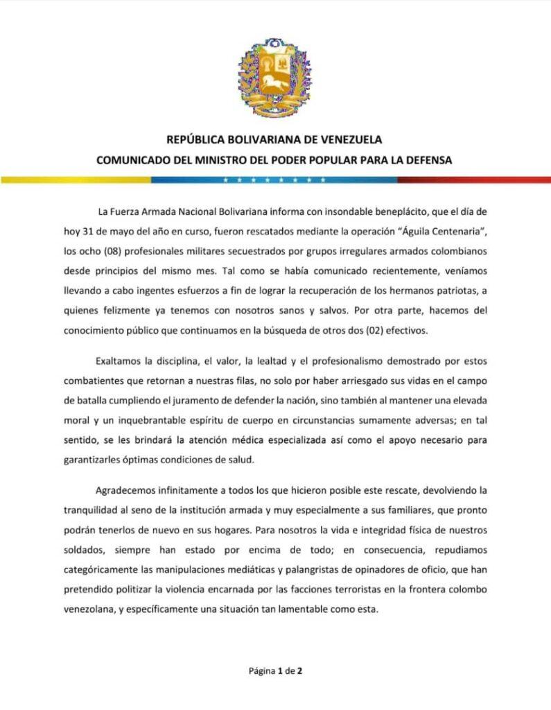 Padrino López confirmó libertad de militares venezolanos secuestrados por las FARC en Apure - junio 1, 2021 7:30 am - NOTIGUARO - Nacionales