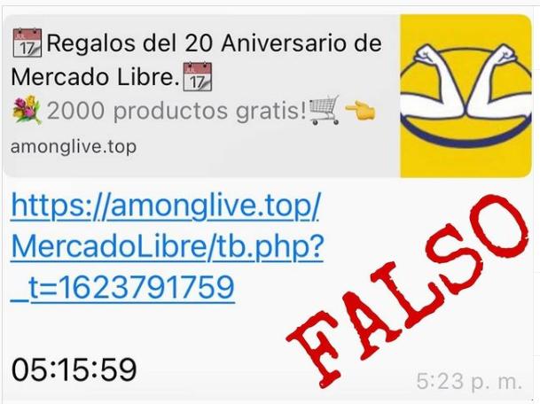¡Estafa! El CICPC advierte sobre un mensaje falso en WhatsApp que ofrece regalos de Mercado Libre - junio 16, 2021 10:58 pm - NOTIGUARO - Nacionales