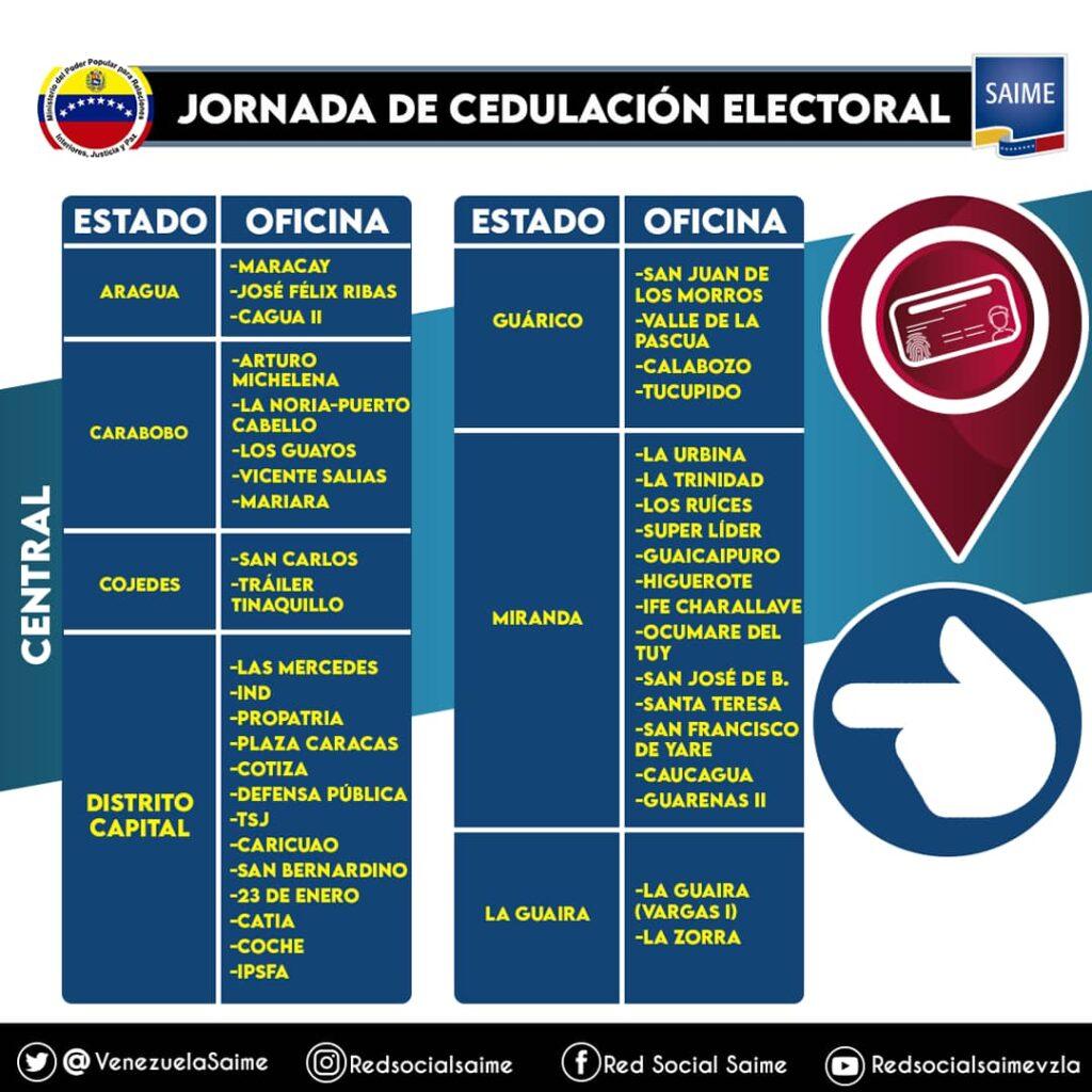 Saime inició jornada de cedulación electoral: Conozca aquí, las oficinas habilitadas - junio 15, 2021 10:20 am - NOTIGUARO - Nacionales