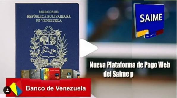 """Saime se une al Banco de Venezuela para actualizar la pasarela de """"Pago de trámites"""" - junio 23, 2021 9:00 am - NOTIGUARO - Nacionales"""