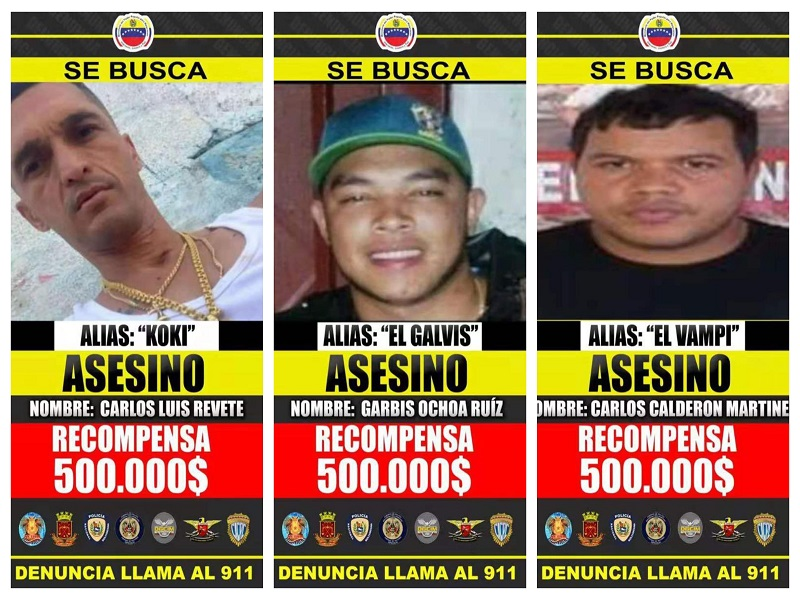 Maduro ofrece $500.000 por información para la captura del Koki, Vampi y Galvis - julio 9, 2021 9:00 am - NOTIGUARO - Nacionales