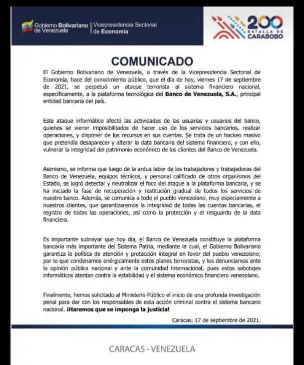 """""""Hackeo masivo"""": Gobierno denunció ataque terrorista contra la plataforma del Banco de Venezuela - septiembre 17, 2021 11:31 pm - NOTIGUARO - Economia"""