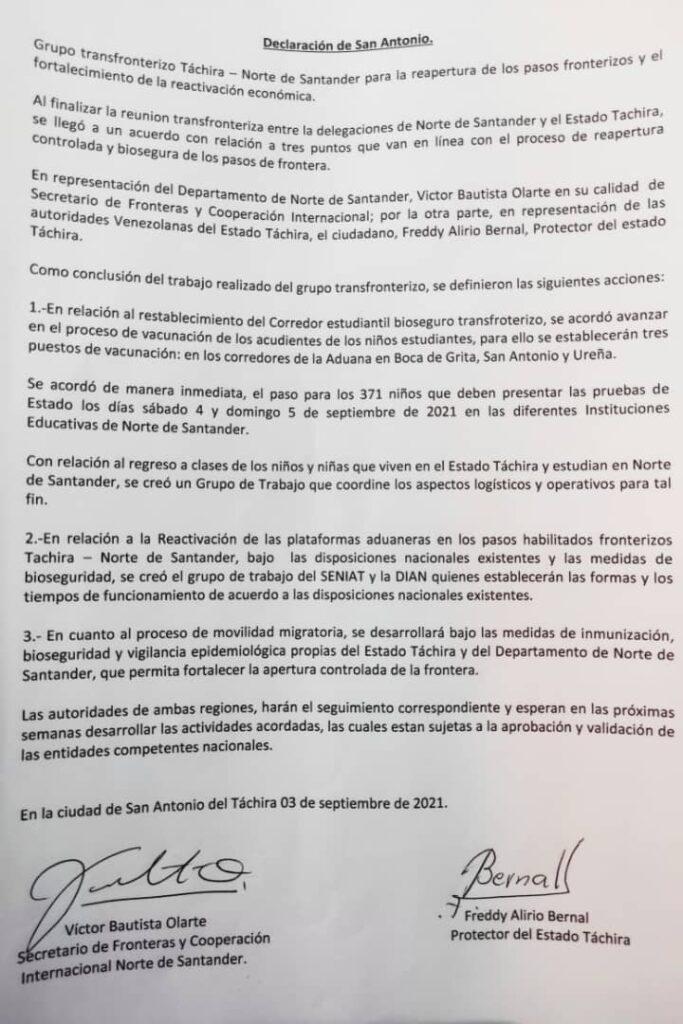 En Táchira: Formalizan acuerdo de apertura progresiva de frontera colombo-venezolana - septiembre 4, 2021 9:01 am - NOTIGUARO - Nacionales