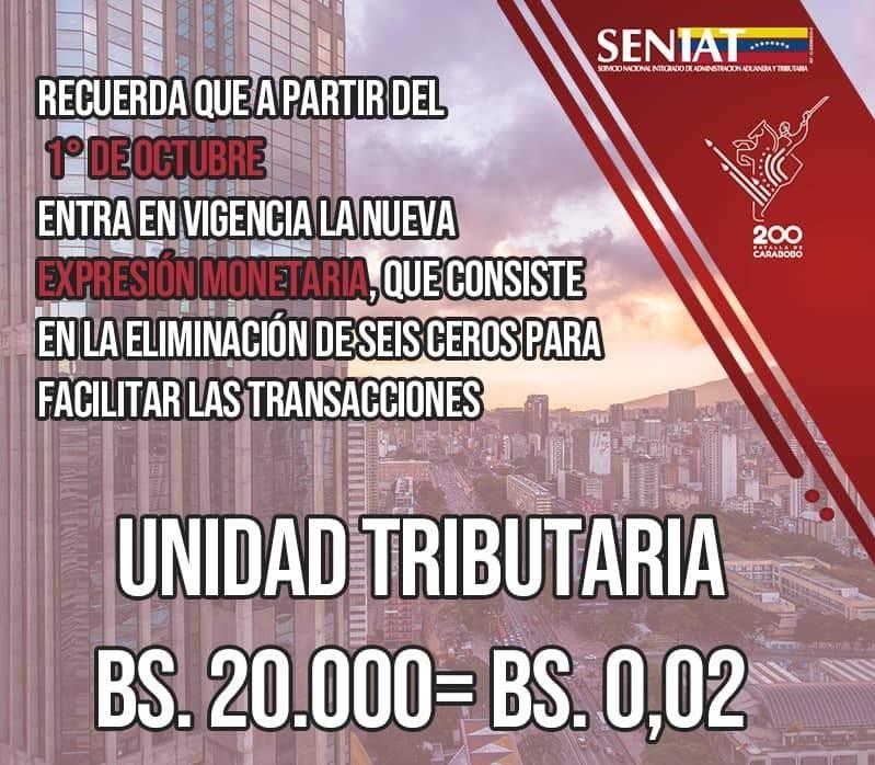 Seniat: Unidad tributaria se expresará en 0,02 bolívares digitales - septiembre 21, 2021 8:10 am - NOTIGUARO - Economia